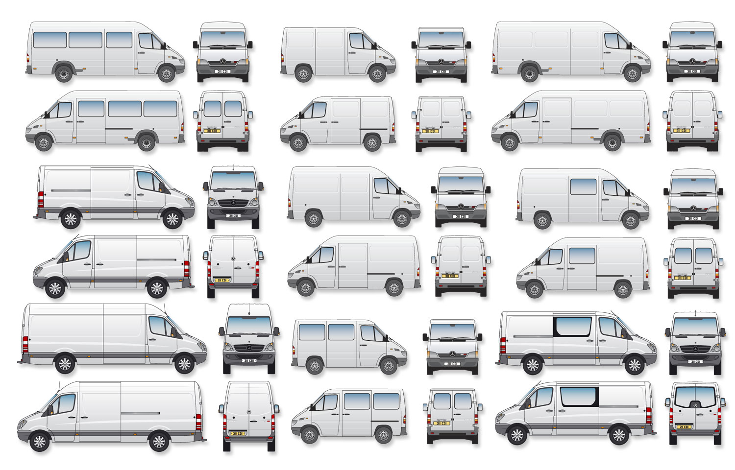 Mercedes-Benz Sprinter Signwriter's vector drawings, blueprints (Complete Set)