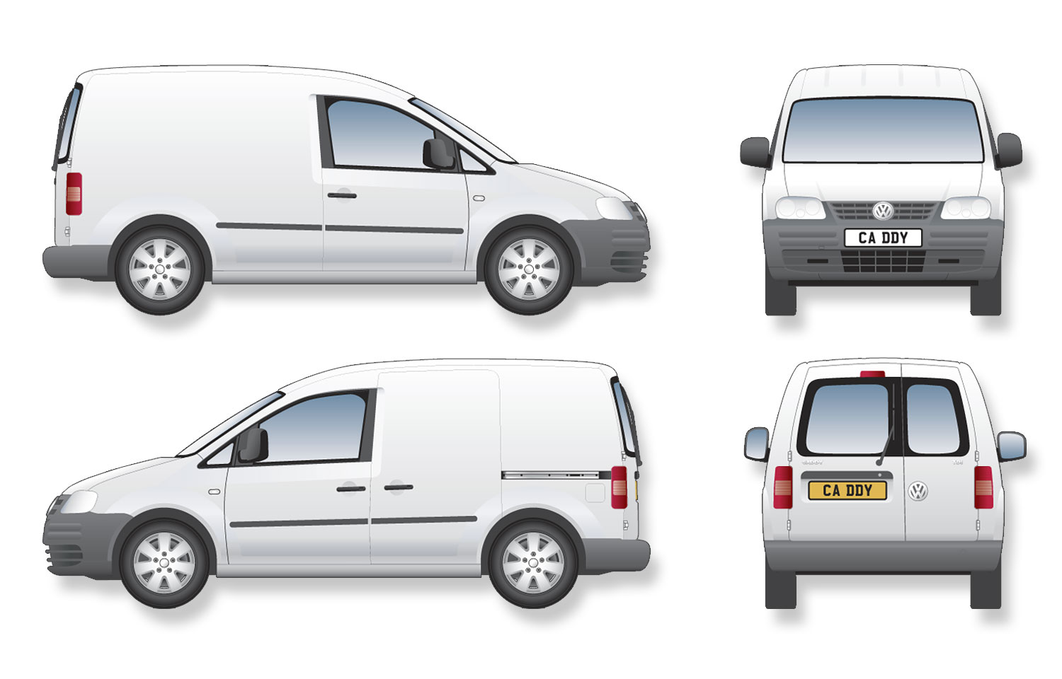 Volkswagen Caddy Van (2004) Signwriter's vector drawings, blueprints
