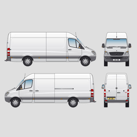 Mercedes-Benz Sprinter 311 CDi Van LWB High Roof Signwriter's vector drawings, blueprints