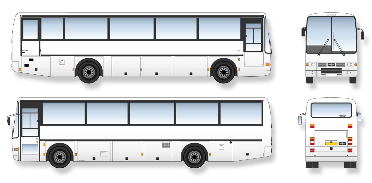 Volvo B10m Van Hool Coach Signwriter's vector drawings, blueprints