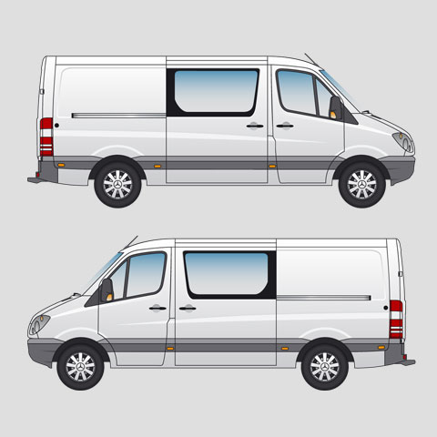 Mercedes-Benz Sprinter 211 CDi MWB Double Cab Standard Roof Signwriter's vector drawings, blueprints