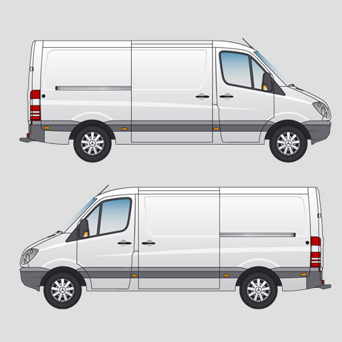 Mercedes-Benz Sprinter 211 CDi MWB Panel Van Standard Roof Signwriter's vector drawings, blueprints