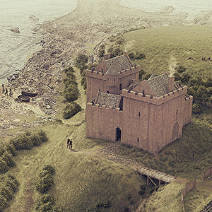 Illustrated historical reconstruction of Ardrossan Castle, Ayrshire