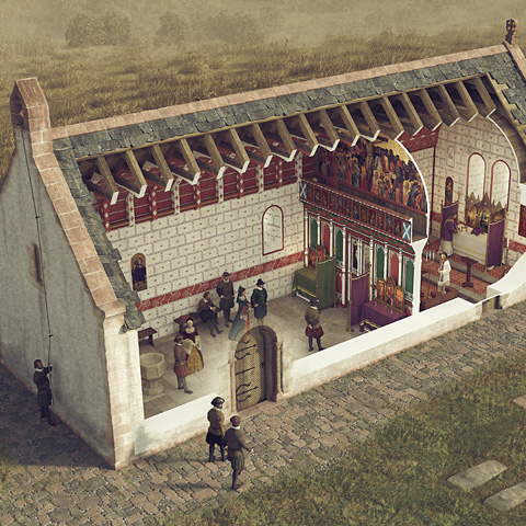 Illustrated historical reconstruction of Ardrossan Parish Church, Ayrshire