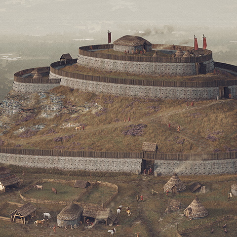 An illustrated reconstruction of East Lomond Fort