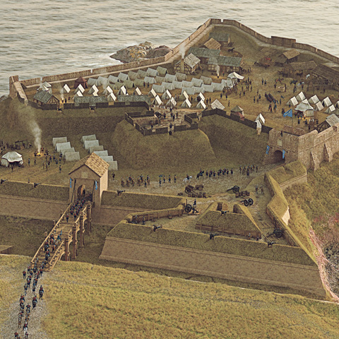 Illustrated historical reconstruction of Eyemouth Fort, Berwickshire by Bob Marshall