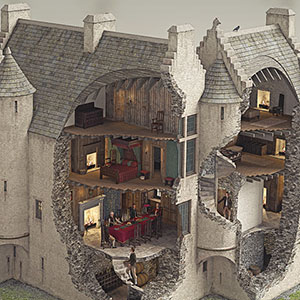 Illustrated historical reconstruction of Glenbuchat castle, Aberdeenshire