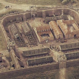 Illustrated historical reconstruction of Rough Castle Roman Fort and Antonine Wall