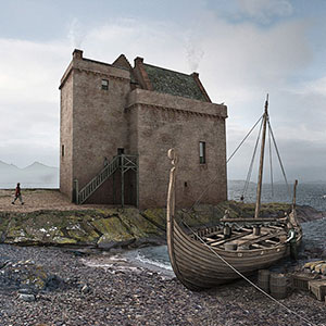 Illustrated reconstructions of Portencross Castle, Ayrshire