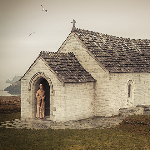 Illustrated reconstruction of the Chapel, Tintagel Castle, Cornwall