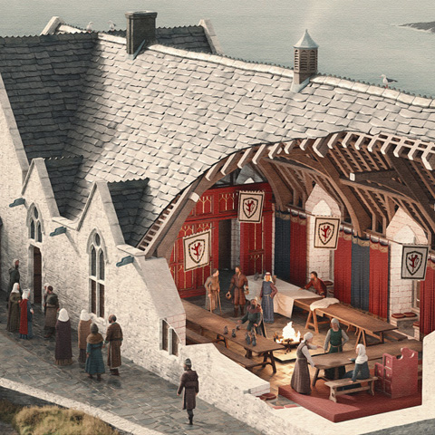 Illustrated cutaway reconstruction of the Great Hall, Tintagel Castle, Cornwall